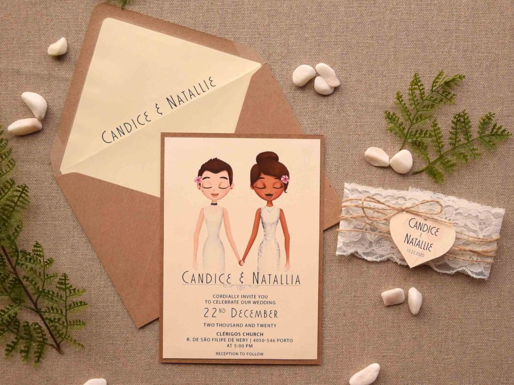 Rustic Lace Portrait Wedding Invitations