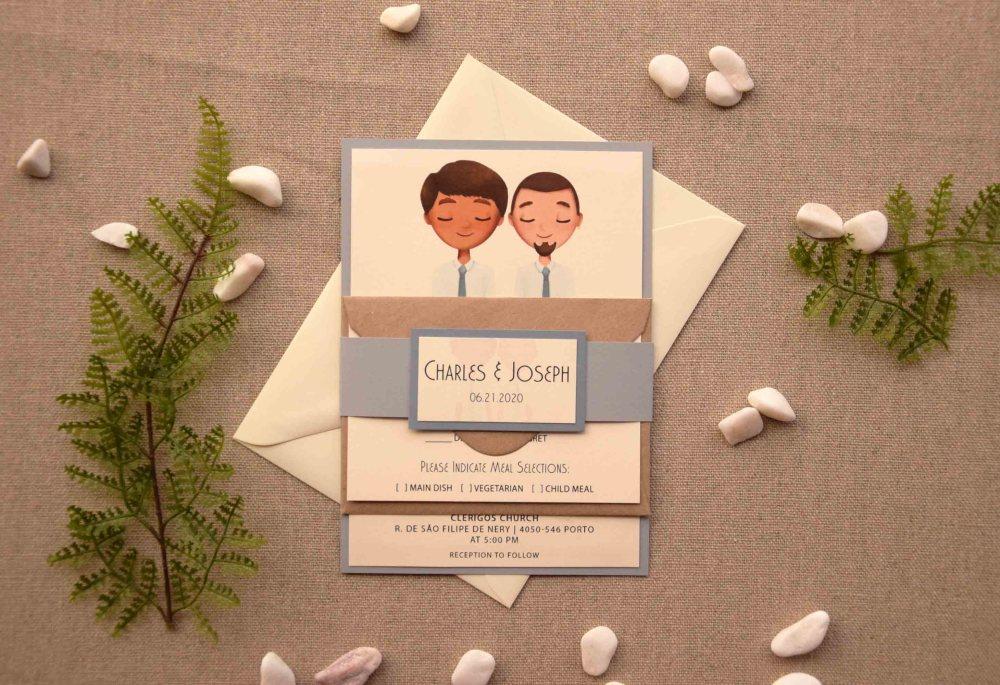 Ivory Portrait Wedding Invitations