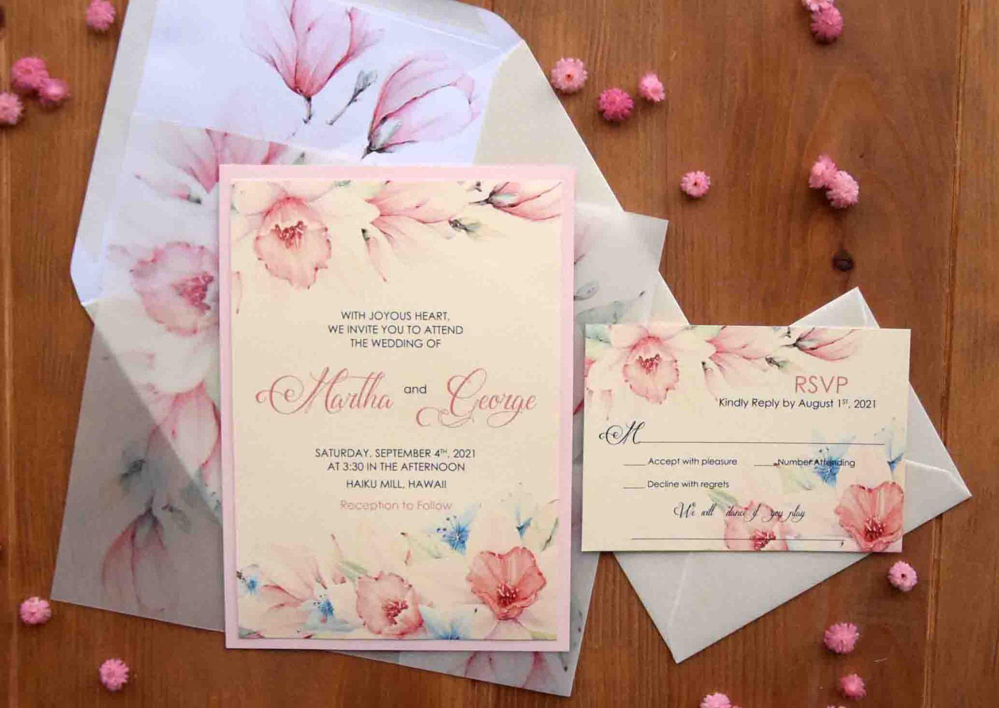Pink Romantic Wedding Invitations
