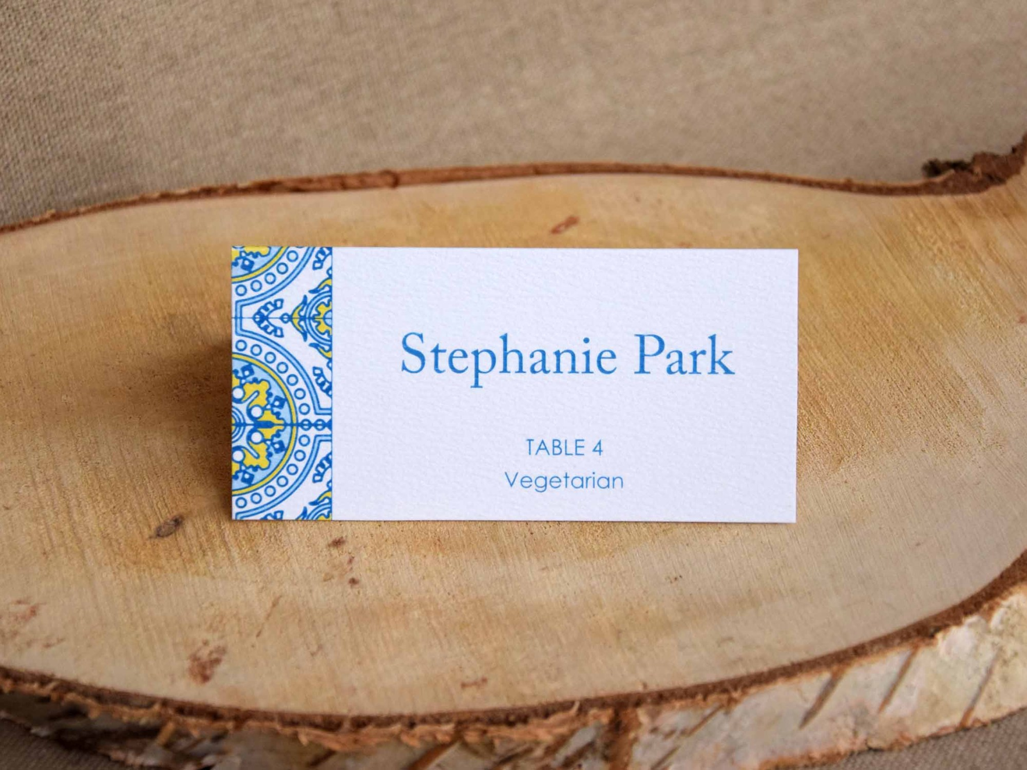 Blue and Yellow Tile Place Cards