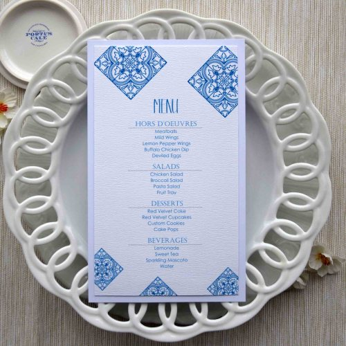 Blue Tile Wedding Dinner Menus