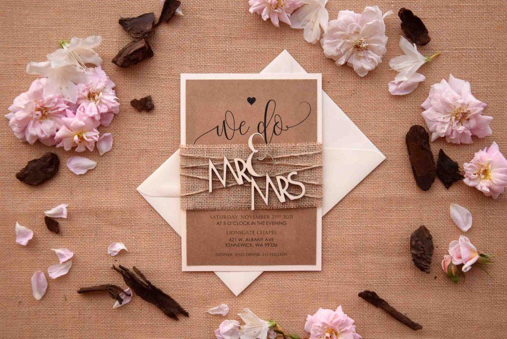 Mr and Mrs Wood Wedding Invitations
