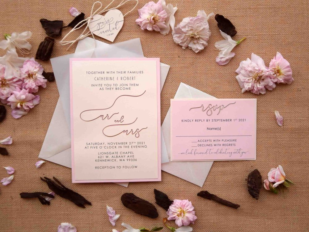 Pink Romantic Laser Cut Invitations