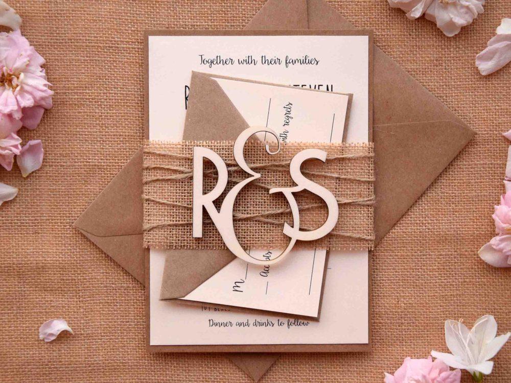Wood Monogram Wedding Invitations