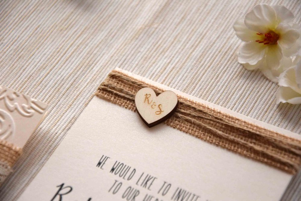 Rustic Burlap and Lace Wedding Invitations Kit
