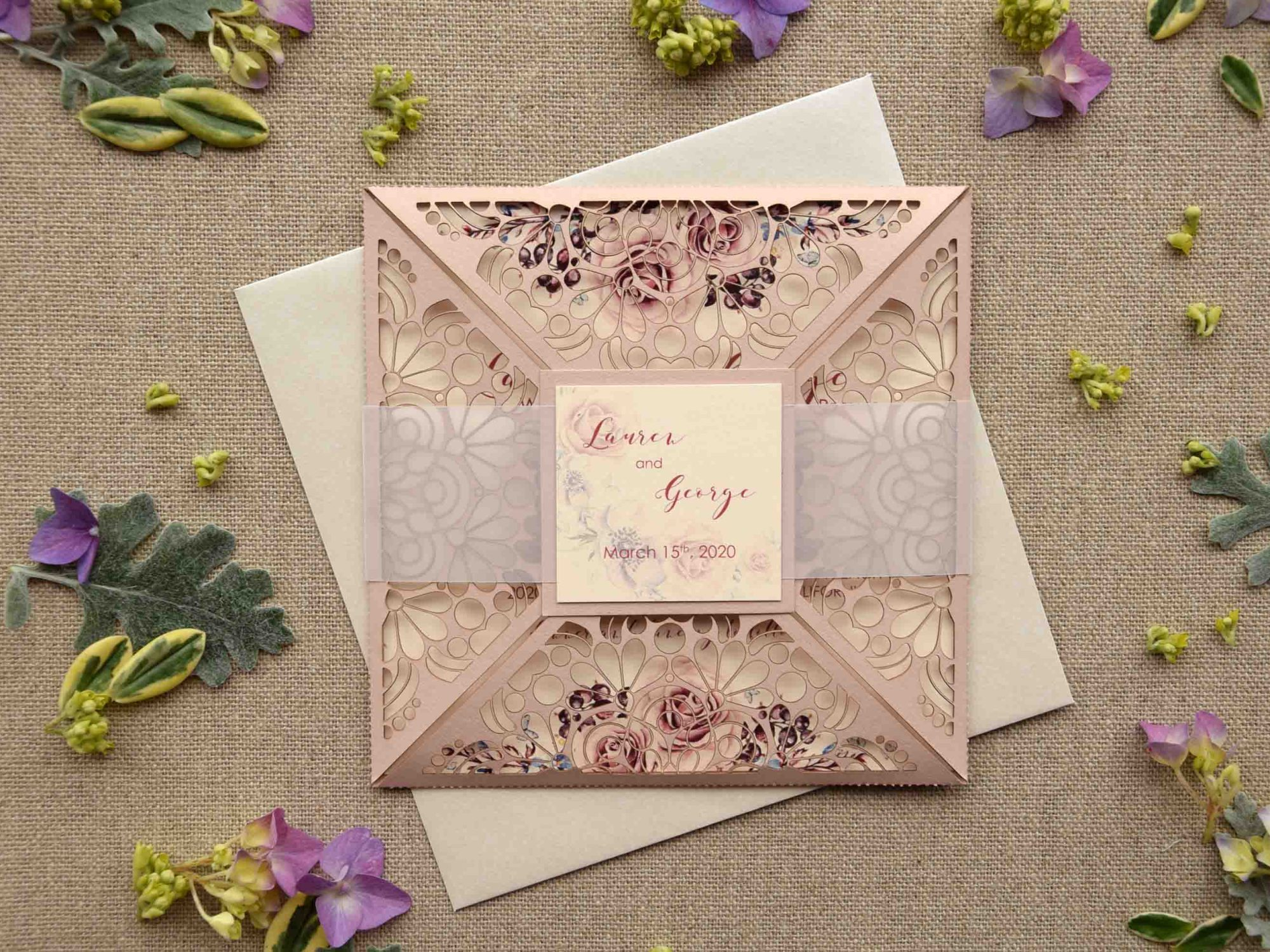 Laser Cut Pocketfold Wedding Invitations