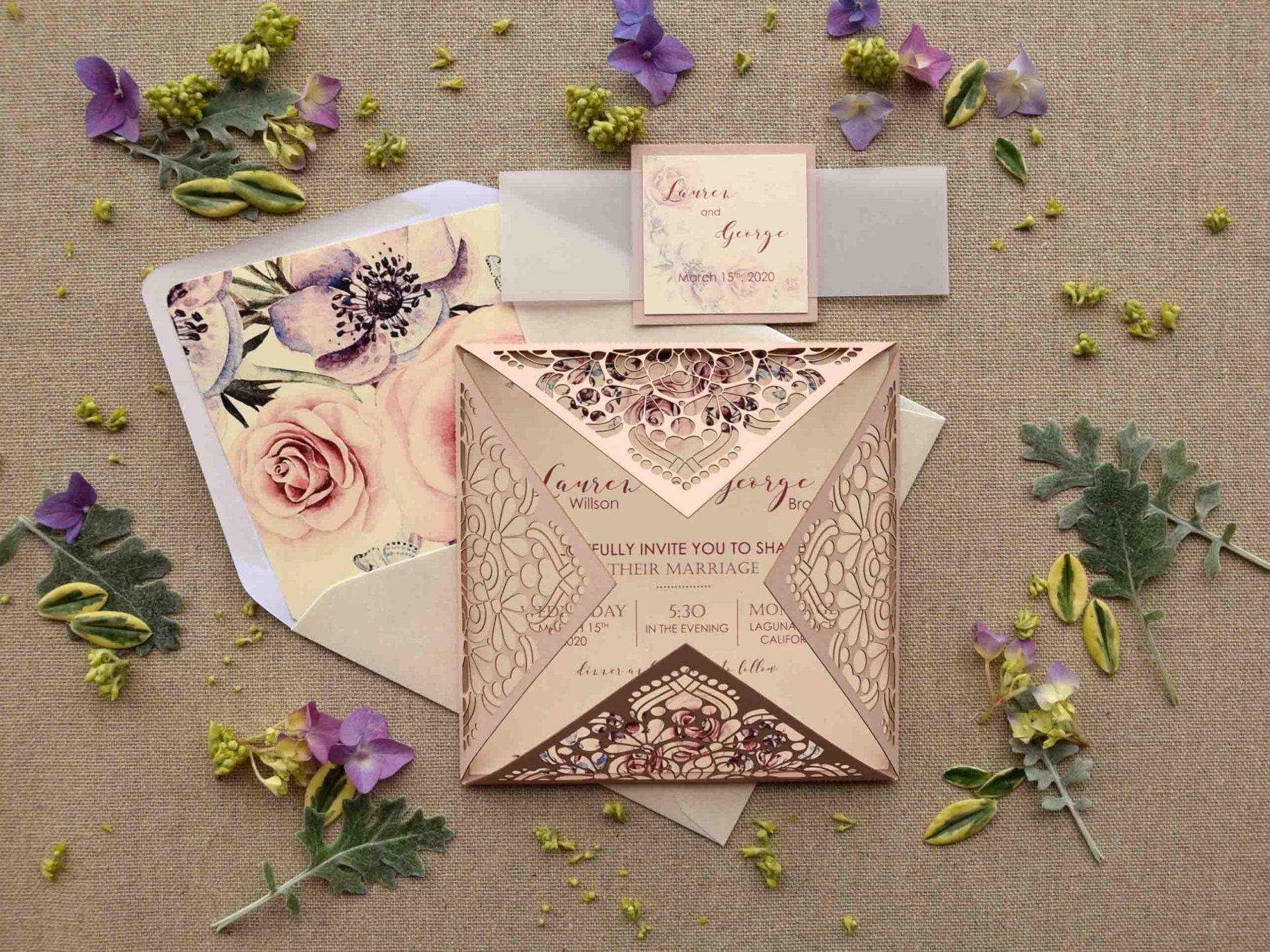 Laser Cut Pocketfold Wedding Invitations