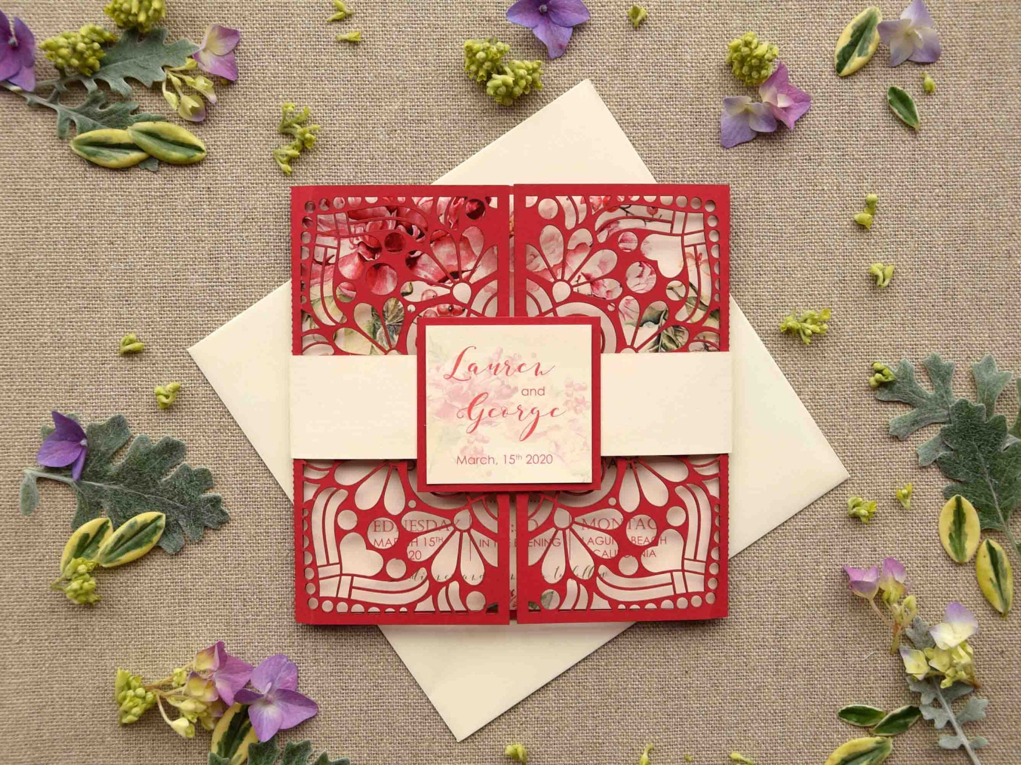 Red Laser Cut Wedding Invitations