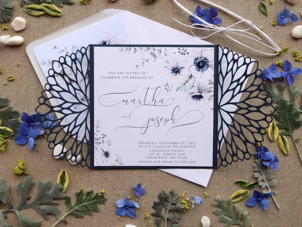 Blue Floral Pocket Wedding Invitations