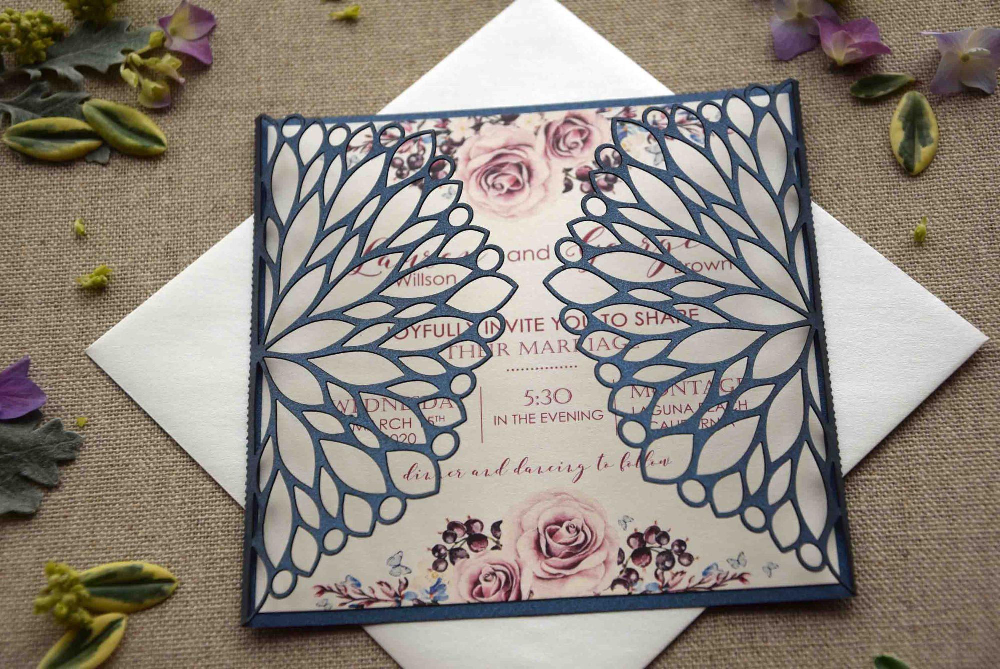 Blue Laser Cut Wedding Invitations