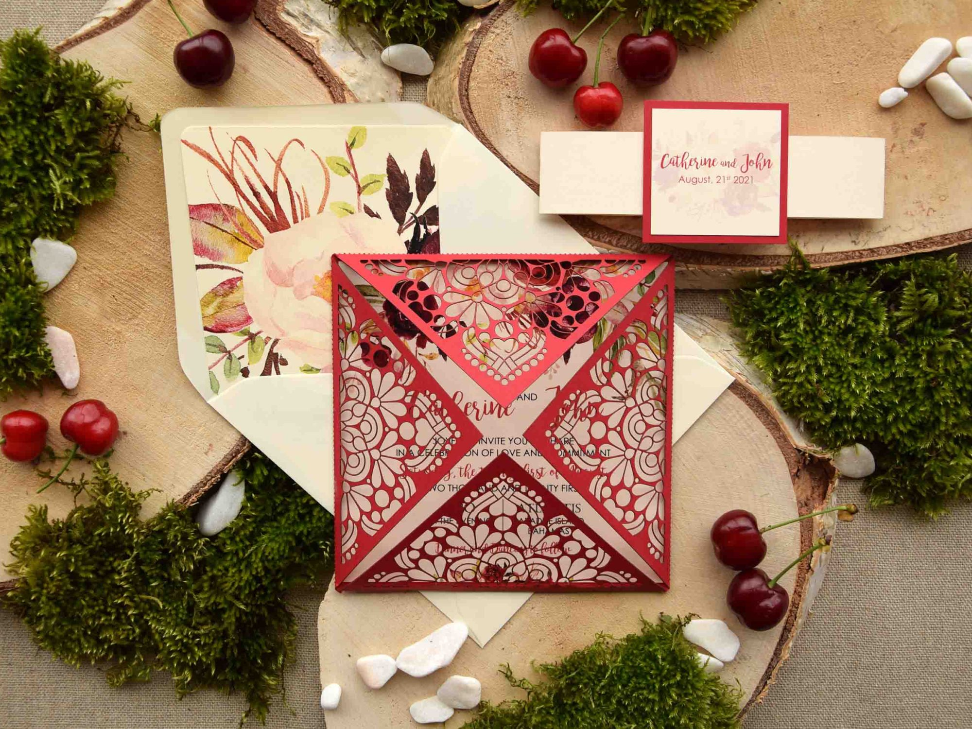 Red Pocketfold Wedding Invitations