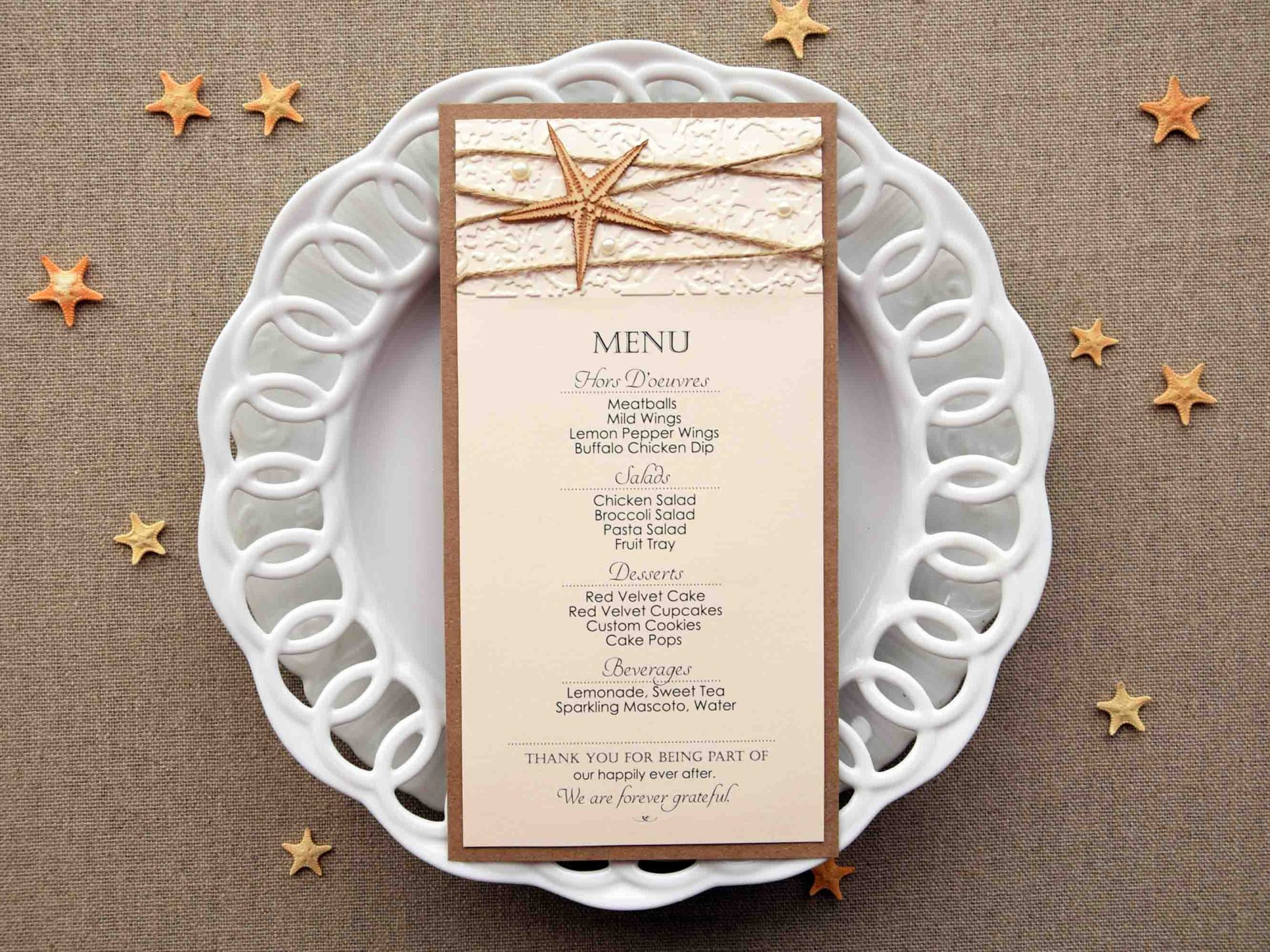 Starfish Wedding Dinner Menu
