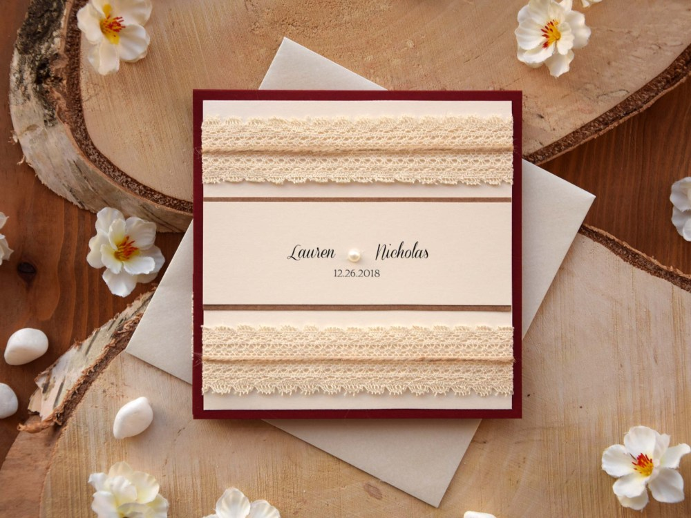 Burgundy Pocket Wedding Invitation