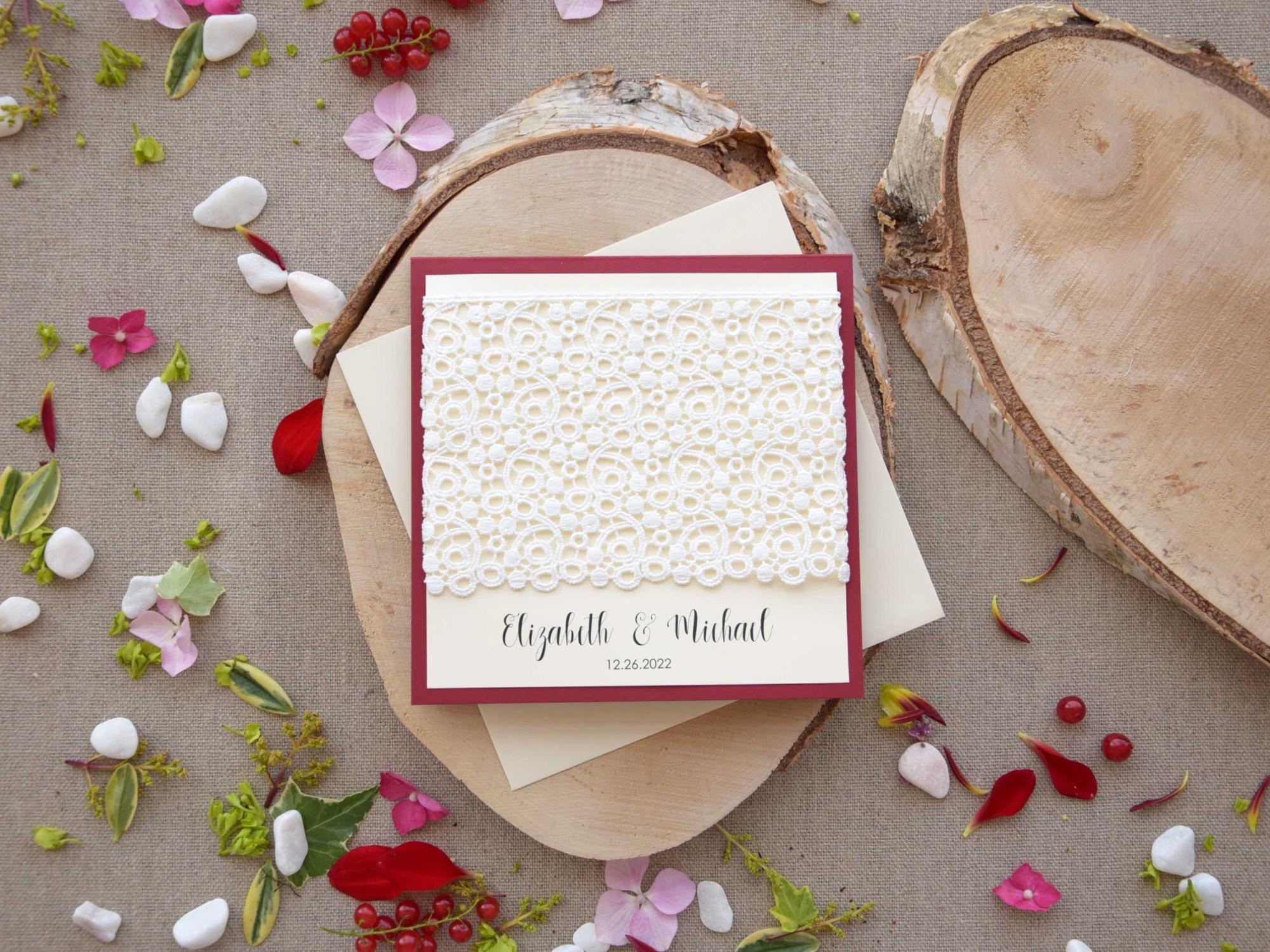 Burgundy Lace Pocketfold Wedding Invitations