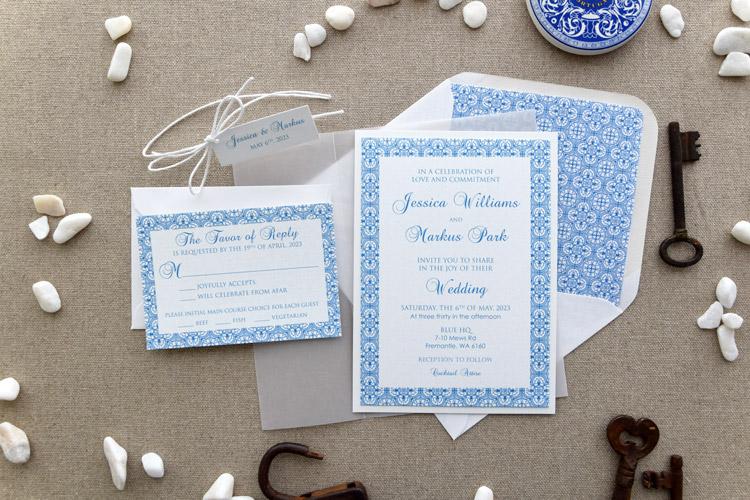 Blue Portuguese Tile Wedding Invitations