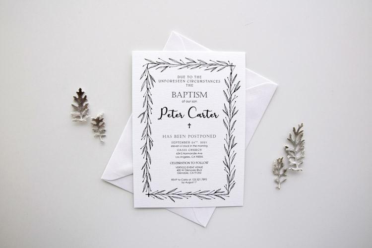 Baptism Postponement Cards