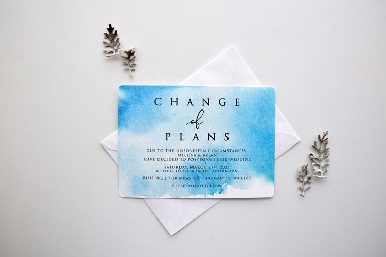 Blue Postponement Wedding Card