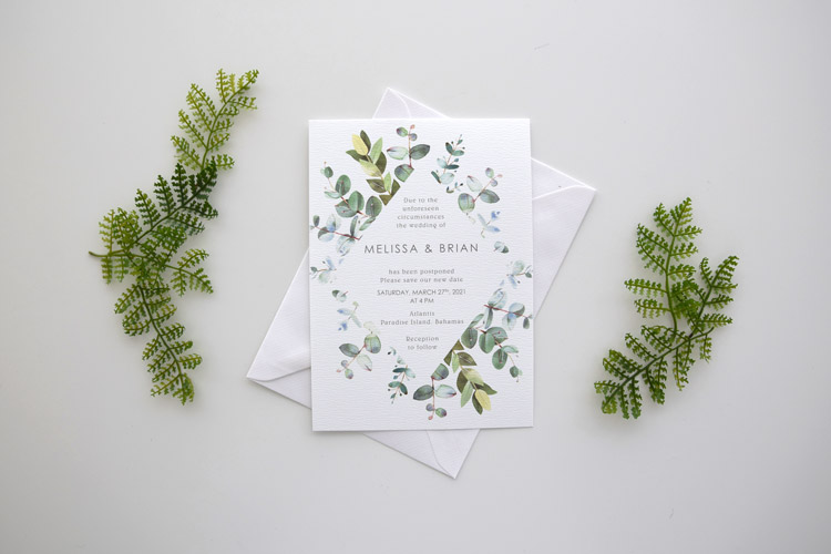 Eucalyptus Postponement Wedding Card
