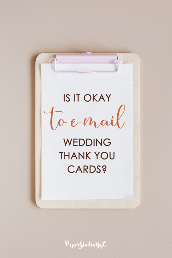 Is it okay to email wedding thank you cards?