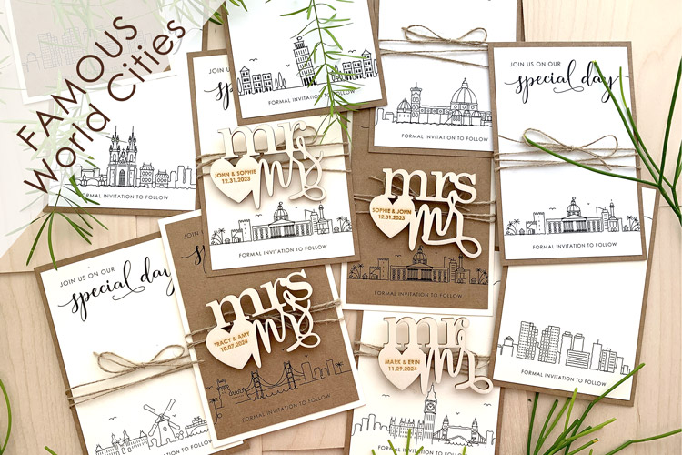 Skyline Destination Magnet Save the Dates - Famous cities
