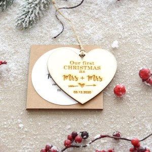 """""""Our First Christmas as"""" Christmas Ornament - Heart shape"""