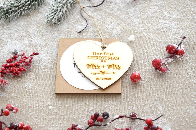 """Our First Christmas as"" Christmas Ornament - Heart shape"