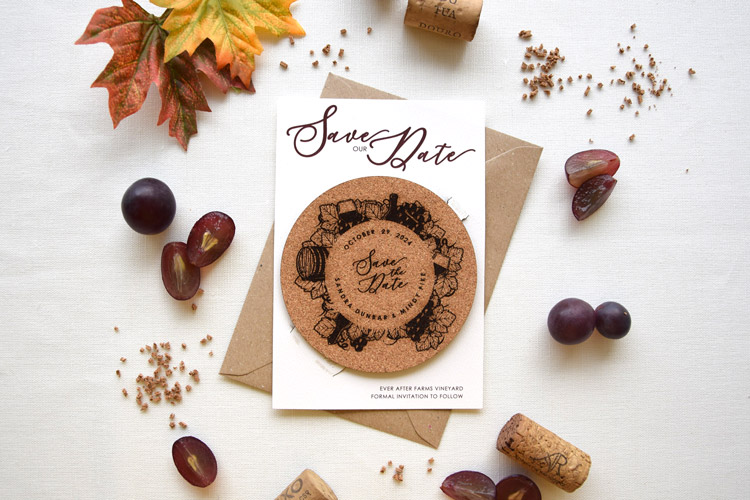 Rustic Chic Cork Coaster Wedding Save the Date