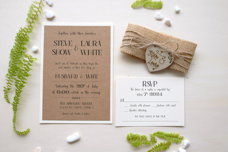 Rustic Wedding Invitation With Wooden Heart