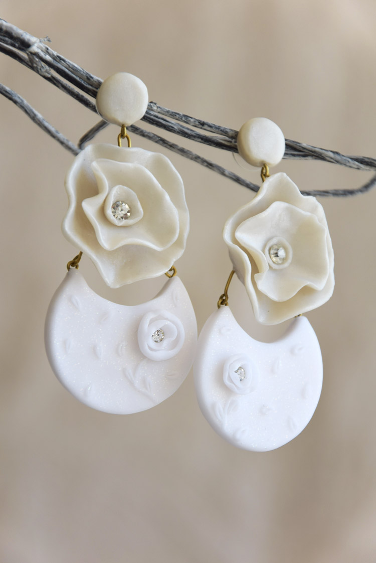 Crescent Moon Earrings With Big Flower
