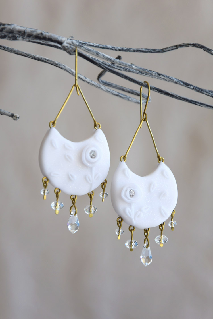 Floral Half Moon Earrings With Swarovski Crystals Fringe