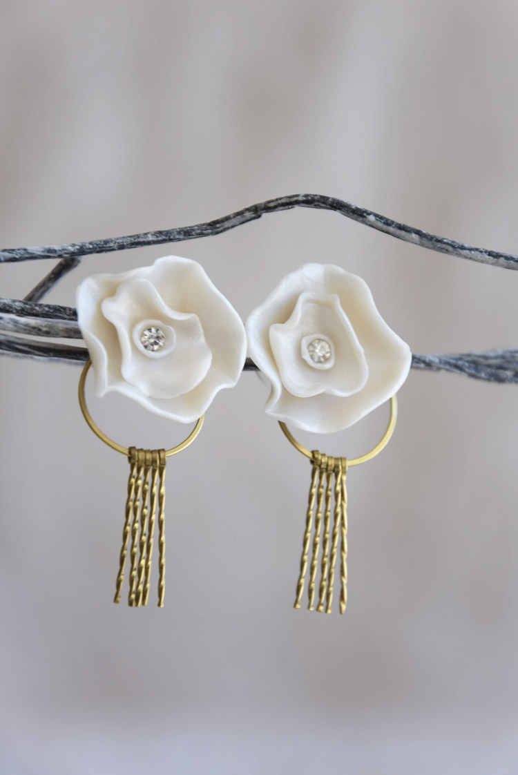 Pearl Rose Stud Earrings With Handcrafted Brass Tassels