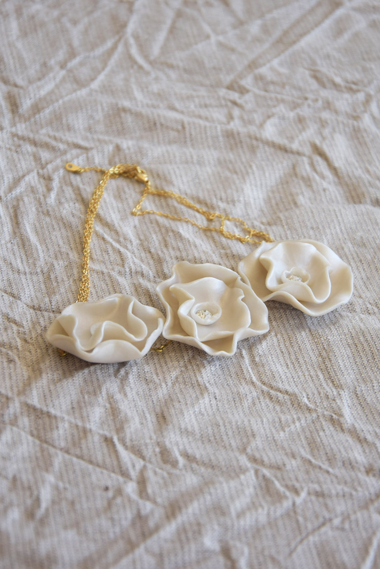 Pearly Roses Bib Necklace