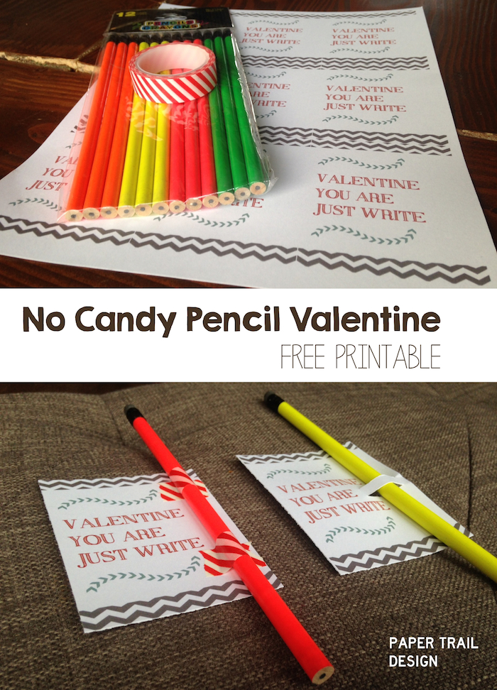 free printable pencil valentine
