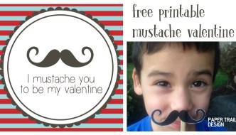 Free Printable Mustache Valentines