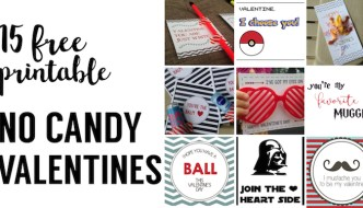 15 DIY free printable no candy valentines. Print these Valentine's Day cards for a school valentine party exchange. Great DIY printable valentines.