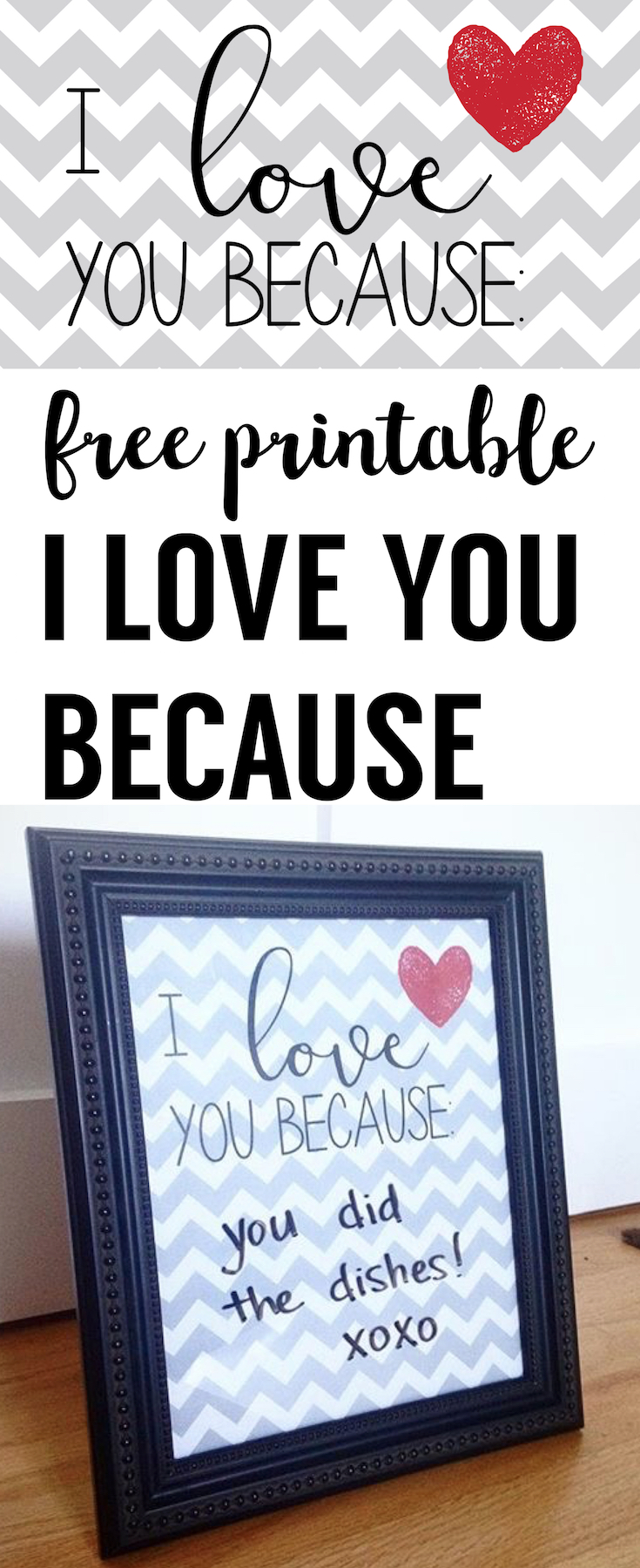 image about I Love You Because Printable known as Free of charge Printable: I Get pleasure from Yourself Considering that Poster - Paper Path Style