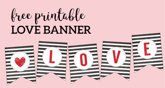 photo relating to Valentine Banner Printable known as Free of charge Printable Appreciate Banner Matching Print - Paper Path Style and design