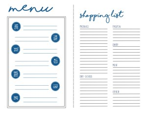 Menu Plan and Shopping List Free Printable. This is a great free printable to help you with your weekly menu planning.