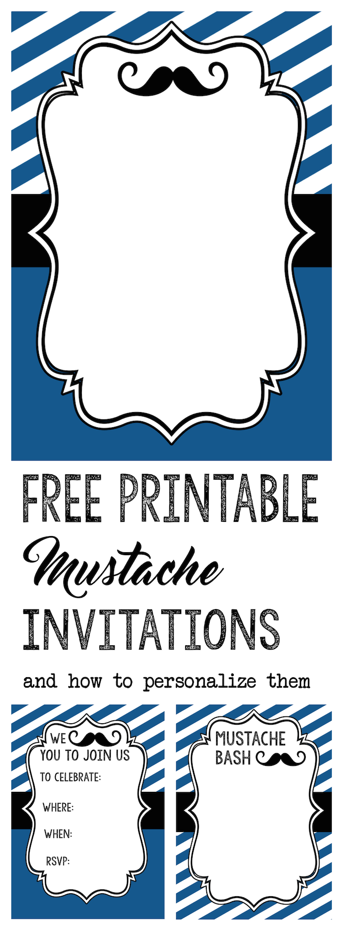 Mustache Party Baby Shower or Birthday Invite Paper Trail Design