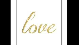 Free Printable Wall Art: Black and Gold Love