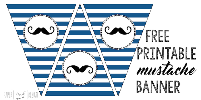 picture about Free Mustache Printable named Mustache Banner Printable Mustache Celebration - Paper Path Style