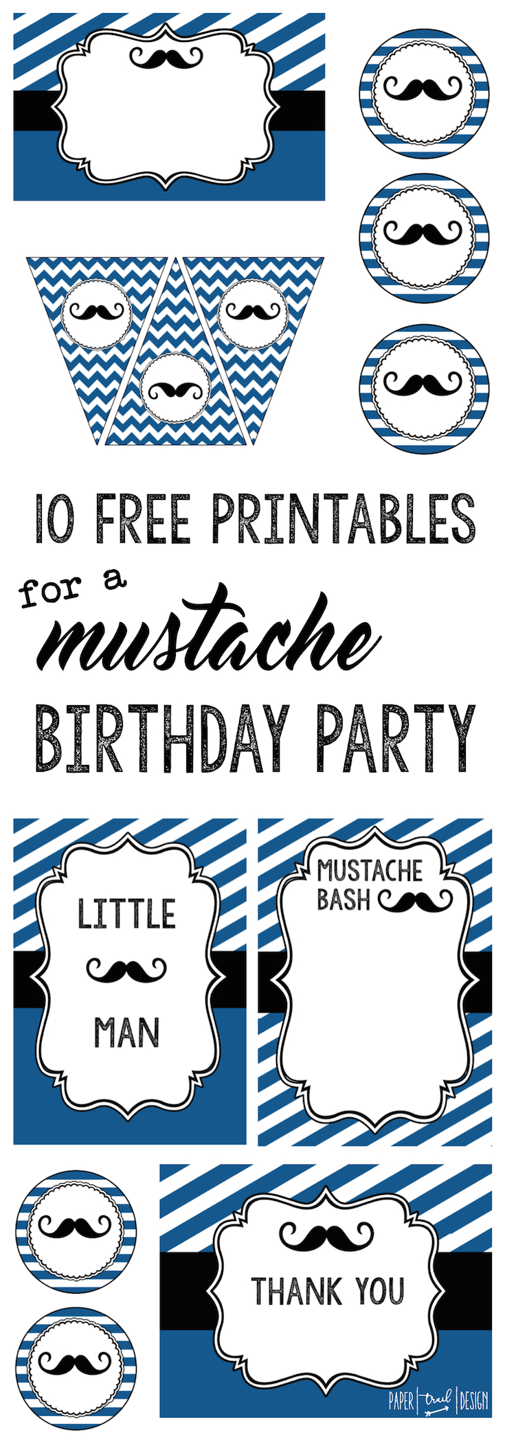 Mustache Birthday Party: Everything you need for a mustache party themed baby shower including banner, food labels, invitation, cupcake toppers, art decor print, thank you cards, and photo booth.