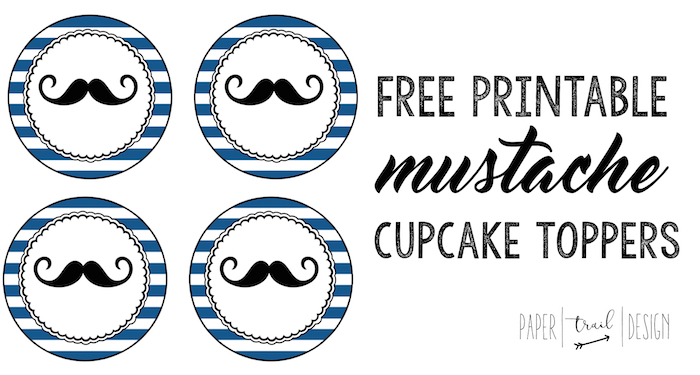 picture regarding Free Mustache Printable named Absolutely free Printable Mustache Cupcake Toppers - Paper Path Layout