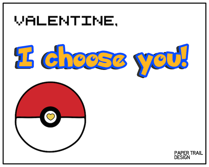 Free Printable Pok mon Valentine Cards Paper Trail Design – Pokemon Valentines Card