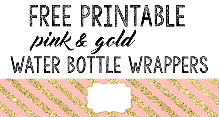 pink and gold water bottle wrappers free printable