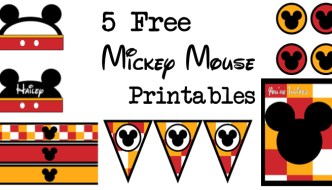 Five Mickey Mouse free printables for a Disney themed party. Print a free banner, water bottle wrappers, cupcake toppers, invitations, name cards, and food labels. There are also tutorials on how to customize the items.