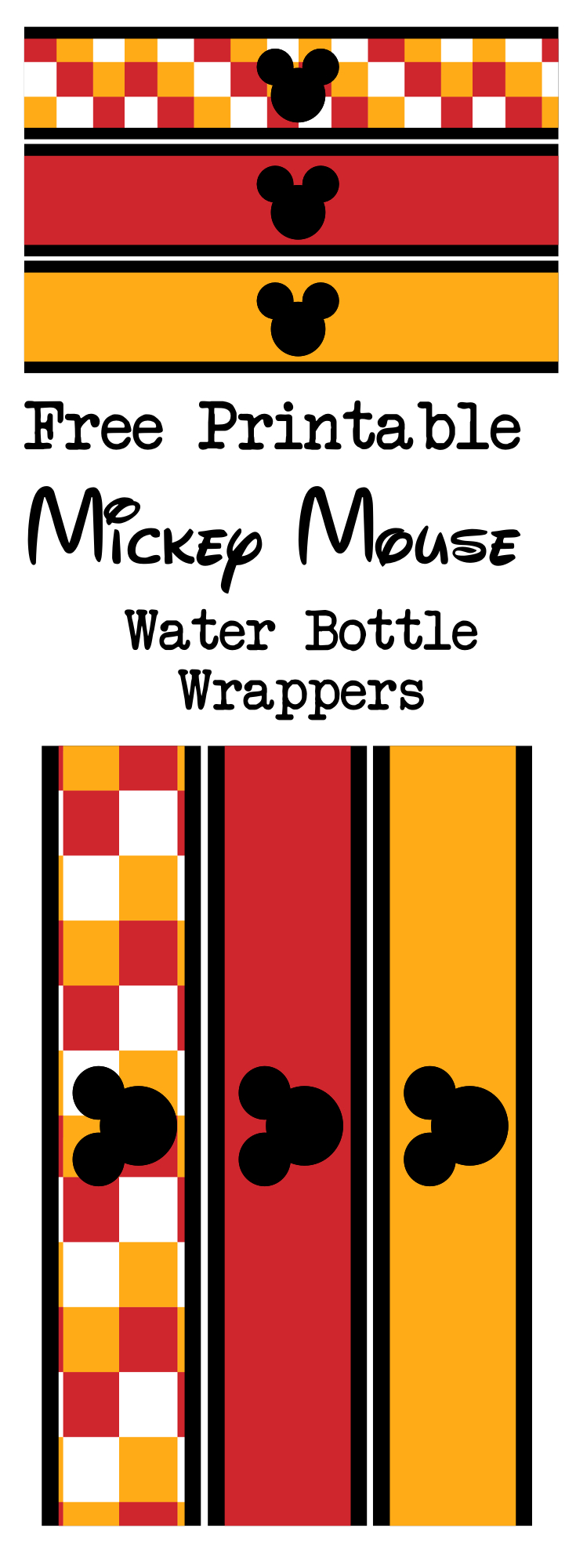 Mickey Mouse Water Bottle Wrappers Free Printable. Print these for your birthday party or baby shower. These are super cute and fun!