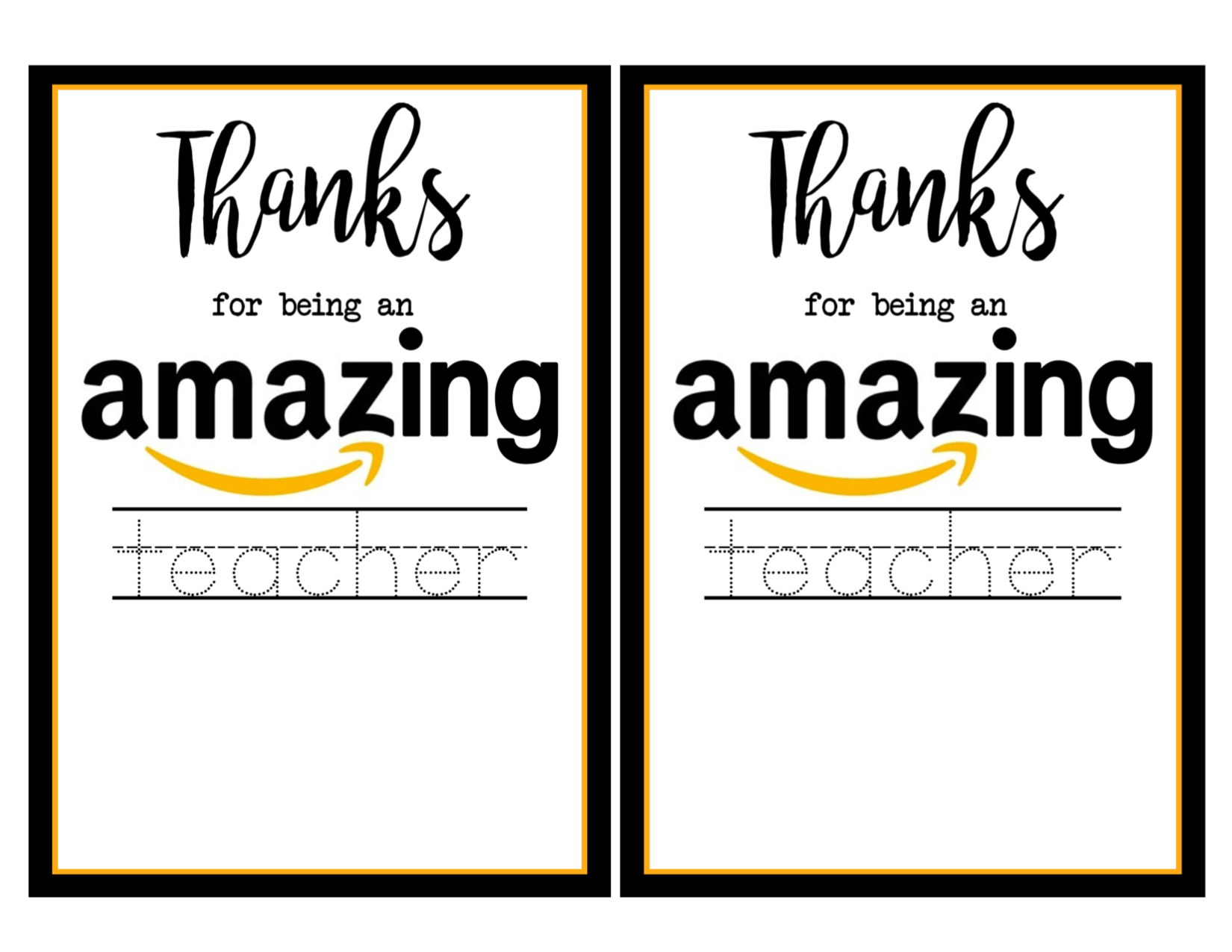 Teacher Appreciation Amazon Card