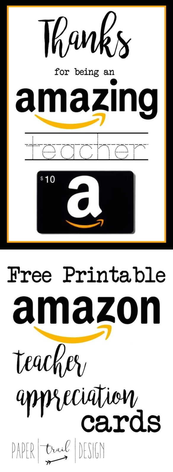 Free Printable Amazon Teacher Appreciation Card . Give your child's teacher something they actually want!