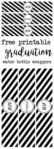 Graduation water bottle wrappers free printable. Print these water bottle labels for your graduation party. Labels include congrats, boom, 2016, 2017, 2018, 2019, and 2020. Coordinate them with our other graduation printables.